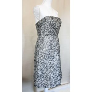 The Limited Silver Brocade Midi Dress Strapless 6
